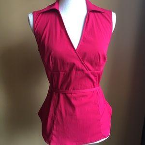 Express stretch deep v-neck tie empire waist top